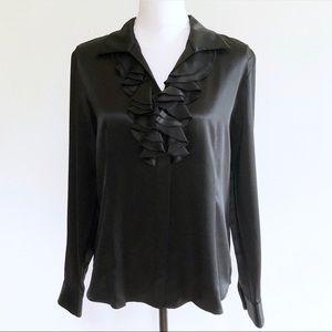 Lafayette 148 NY Silk Ruffle Front Blouse Black 8